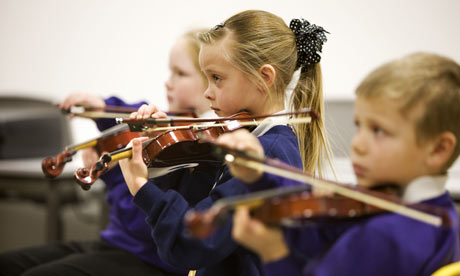 Kids playing music demonstrating the added benefits of taking music lessons in childhood