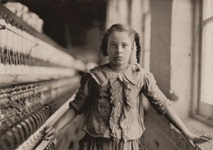 image of one of the Bobbin Girls in a textile mill