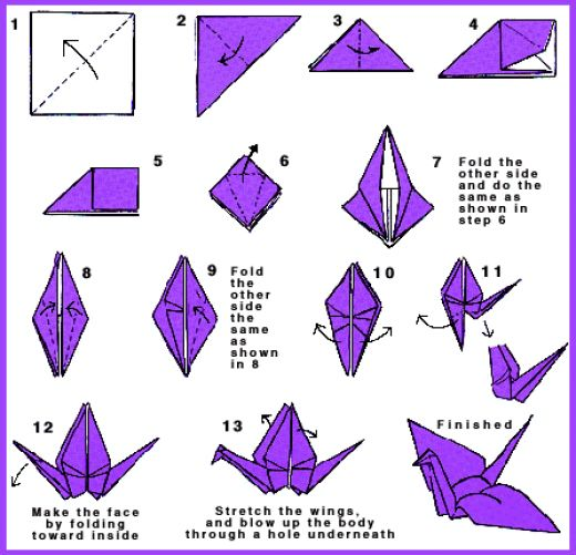 Origami folding instructions how to make an origami flying bird