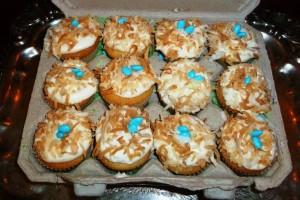 egg carton full of 12 mini cupcakes
