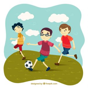 image of kids at play using a soccer ball