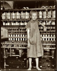 image of one of the Bobbin Girls in the textile mill.