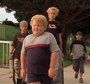 picture of bullies making fun of overweight boy
