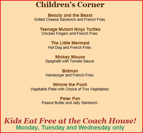 Coach House Restaurant Menu